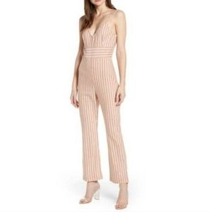 Leith Pink Striped Flare Leg Jumpsuit